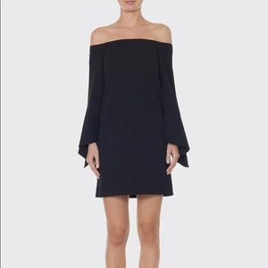 Tibi Off Shoulder Structured Crepe Mini Dress
